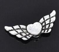 50 Neu Perlen Antiksilber Herz & Flügel Spacer Beads zum Basteln 22x9mm
