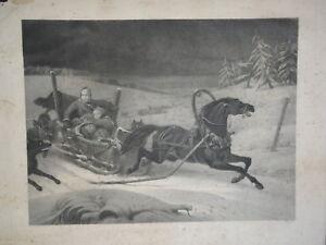 F. SCHOPIN (1804-1880) GRANDE GRAVURE FAMILLE ATTAQUE LOUPS RUSSIE RUSSIA 1850