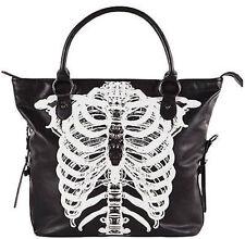 Iron Fist Wishbone Skelton Scary Gothic Punk Rock Tattoo Handbag Purse Tote Bag