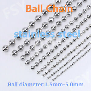 Necklace stainless steel ball chain 1.5-5 mm custom length bracelet jewelry