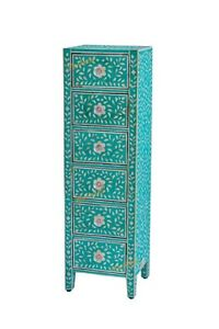 Bone Inlay Chest Of 6 Drawers TallBoy In Teal Green Color With Insurance Home