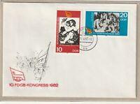 """Ersttagsbrief - """"10. FDGB-Kongress 1982"""" mit Marken und Stempel 1982"""