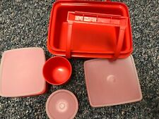 Tupperware Vintage Pack N Carry Lunch Box Red Orange Removable Handles
