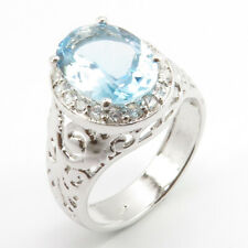 Natural BLUE TOPAZ CUBIC ZIRCONIA Gemstone Size 11.5 Girl Ring .925 Stamp silver