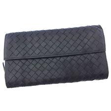Bottega Veneta Wallet Purse Intrecciato Black Gold Woman Authentic Used Y3174