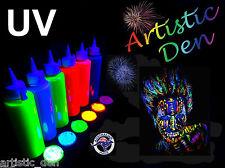 UV Neon Face Body Paint 6x 250ml Fluorescent Black light Fluoro Artistic Den®