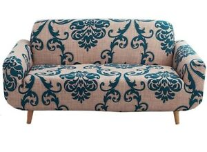 nordmiex Pattern Sofa Slipcover Stretch Arm Chair Large 4 Seater Brown Navy Blue