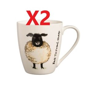 2 X Price & Kensington Back To Front Fine China Mugs  SHEEP  [2430H]