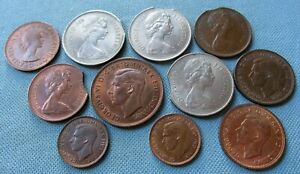 Lot of 11 Great Britain 1900s George VI Elizabeth II Nice Old Coins Some Errors