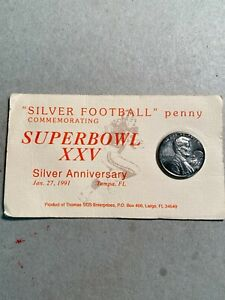 "1990 ""Silver Football"" Penny Commemorating Super Bowl XXV"