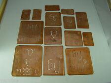 14 x GV alte Merkenthaler Monogramme, Kupfer Schablonen, Stencils,Patrons broder