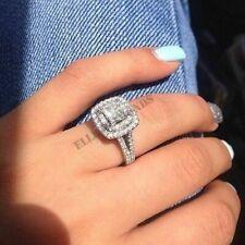 14k White Gold Double Halo Diamond Split Shank Engagement Ring