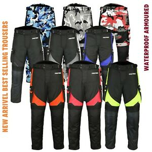 Mens Armoured Motorbike Motorcycle Trouser Waterproof Trousers Removable Lining