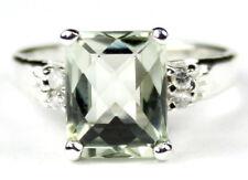 GREEN AMETHYST Sterling Silver Ladies Ring -Handmade • SR221