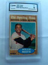 WILLIE MAYS 1962 TOPPS, #395 ALL-STAR, GMA GRADED EX 5, HOF, GIANTS