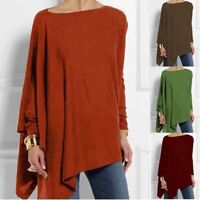 Tops Sleeve Blouse Long Asymmetrical Women Ladies Casual Loose Shirt Basic Tunic