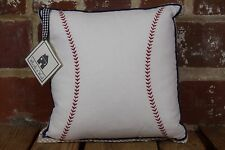 "Whistle & Wink 12"" x 12"" Baseball and Gingham Decorative Baby Pillow"