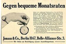 Jonass & Co. Berlin H. Taschenuhren und Brillantschmuck Historische Annonce 1913