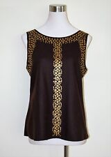 NWT TORY BURCH TRB BROWN WOOL SLEEVELESS BLOUSE/ WITH GOLD DISC DETAIL  SIZE 12