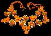"Rare Vintage Early Miriam Haskell Gilt Orange Glass 16""x2-1/2"" Bib Necklace A34"