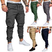 Mens Sports Pants Wide Trousers Sweatpants Slack Casual Jogger Pants Stretch LS