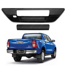 Matte Black Tailgate Handle Cover For Toyota Hilux Revo 2015 2017 Camera Hole