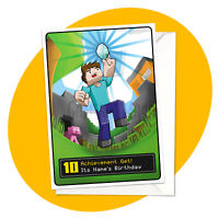Achievement - PERSONALISED BIRTHDAY CARD - Minecraft themed gamer personalized