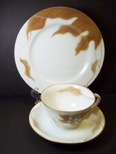 Koran China cup saucer & plate set hand painted Brown leaves design