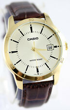 Casio Mens MTP-V004GL-9A Gold Analog Watch Brown Leather Band Day Date New