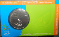 Australia 2006 Commonwealth Games Aquatics 50 Cent Coin in Card