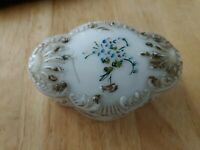 Pretty Antique, Victorian White Milk Glass Jewelry Trinket Box