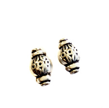 2PCS Sterling Silver Oval Fancy Spacer Beads-Jewelry Supplies