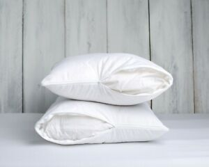 PAIR PILLOW TWO MERINO WOOL PILLOWS REMOVABLE COTTON COVER NATURAL
