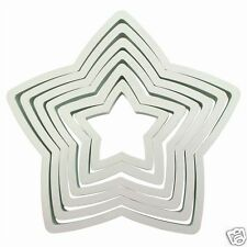 PME QUALITY STAR COOKIE CUTTER SET - 6 CUTTERS FROM 45MM TO 125MM
