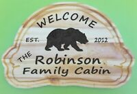 Personalized Custom Carved Cabin Wood Sign Rustic Plaque Home Decor Black Bear