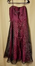 Betsy&Adam by Jaslene - Pink & Black Polka Dot Dress Size 12     *KT10