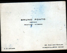 "AUBERVILLIERS (93) PEINTURE VITRERIE / Artisan ""Bruno POATO"" Carte de Visite"