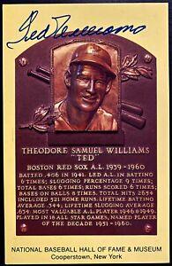 MLB Baseball Ted Williams Signed Hall of Fame Plaque Postcard Autographed JSA