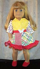 "Doll Clothes Made 2 Fit American Girl 18"" in Wrap Around Dress Summer Red Yellow"