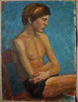 Russian Ukrainian Soviet oil painting realism nude boy figure portrait 1950s