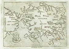 1667 nice Map of SARDINIA - SARDEGNA - Italy - Italia - Marchetti / Ortelius