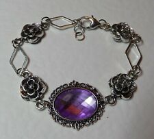 VICTORIAN STYLE -DIAMOND ROSE- lilac purple CRYSTAL SILVER PLATED BRACELET DR