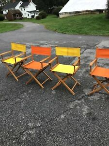 4 VTG Commander Directors Folding Chair Mid Century Modern Yellow orange Canvas