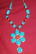 Avon Turquoise Red Coral Colored Flower Necklace Western Cowgirl Jewelry Vintage