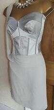 KAREN MILLEN ❤ Lovely Silver CORSET  DRESS SIZE 10 12 Wedding Cocktail Party