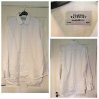 "Charles Tyrwhitt White Long Sleeve Shirt Size 17 1/2"" 36"" Mens (A514)"