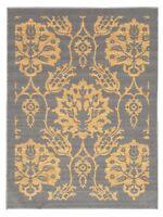 Rubber Backed Non-Skid Non-Slip GOLD & GRAY Color Floral Design Area Rug