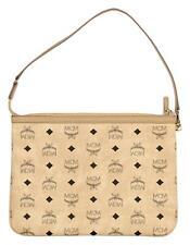 MCM Women's Visetos Pochettte Shoulder Bag Handbag Purse in Beige
