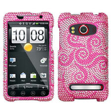 For Sprint HTC EVO 4G Crystal Diamond BLING Hard Case Phone Cover Whirl Flowers