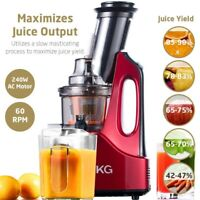 SKG Wide Chute Anti-Oxidation Cold Press Masticating Easy Clean Slow Juicer Wine